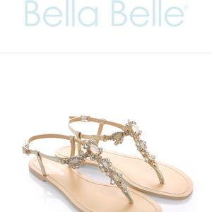 b181a747c Bella Belle Shoes - Bella Belle Luna Crystal Jewel Gold Dress Sandals